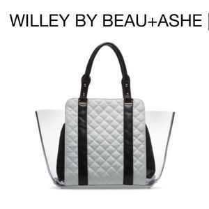 WILLEY Quilted Shoulder Tote Blk/White Beau + Ashe